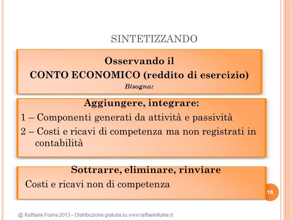 @ Raffaele Fiume 2013 – Distribuzione gratuita su www.raffaelefiume.it SINTETIZZANDO 16 Osservando il CONTO ECONOMICO (reddito di esercizio) Bisogna: