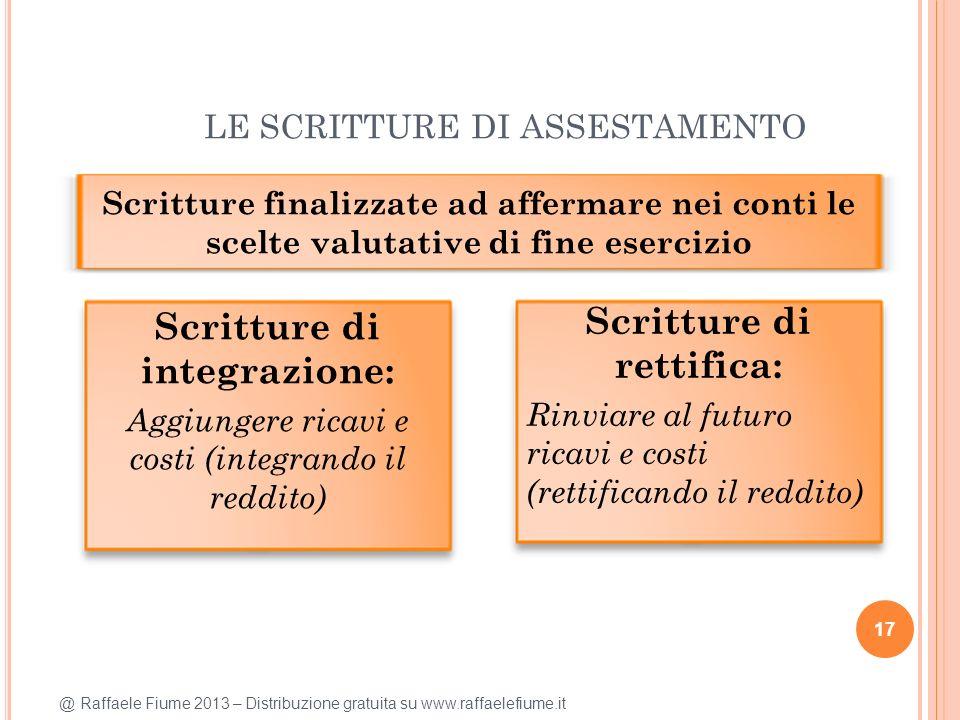 @ Raffaele Fiume 2013 – Distribuzione gratuita su www.raffaelefiume.it LE SCRITTURE DI ASSESTAMENTO 17 Scritture finalizzate ad affermare nei conti le