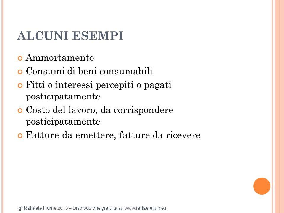 @ Raffaele Fiume 2013 – Distribuzione gratuita su www.raffaelefiume.it ALCUNI ESEMPI Ammortamento Consumi di beni consumabili Fitti o interessi percep