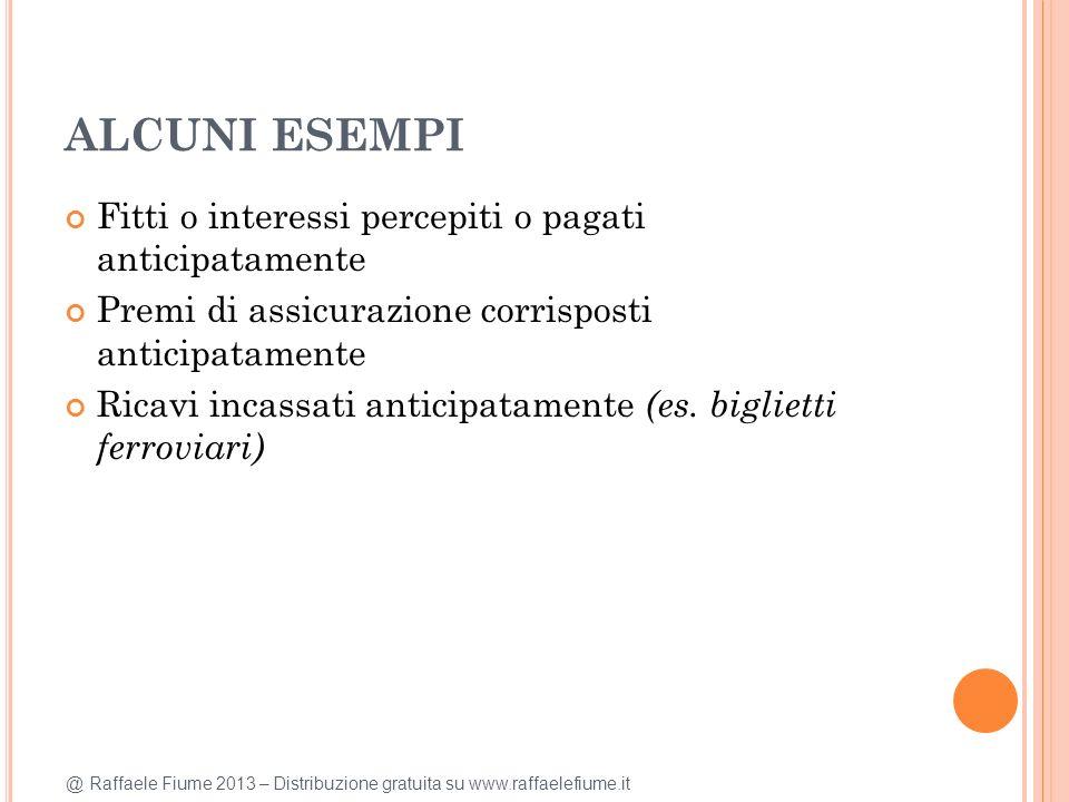 @ Raffaele Fiume 2013 – Distribuzione gratuita su www.raffaelefiume.it ALCUNI ESEMPI Fitti o interessi percepiti o pagati anticipatamente Premi di ass