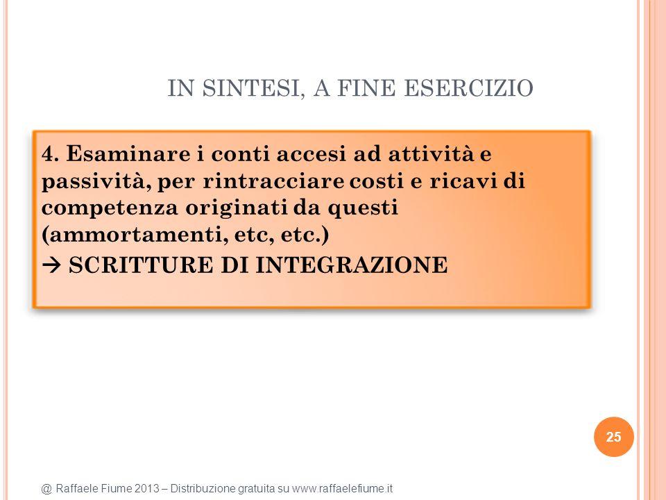 @ Raffaele Fiume 2013 – Distribuzione gratuita su www.raffaelefiume.it IN SINTESI, A FINE ESERCIZIO 25 4. Esaminare i conti accesi ad attività e passi