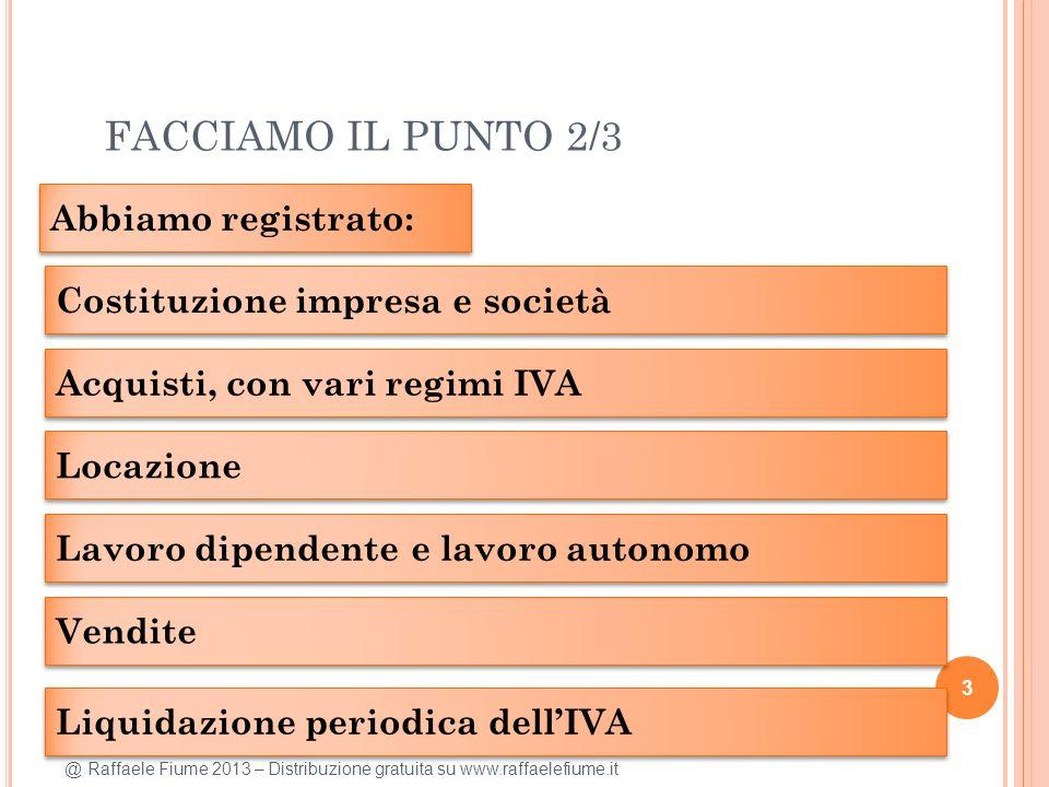 @ Raffaele Fiume 2013 – Distribuzione gratuita su www.raffaelefiume.it FACCIAMO IL PUNTO 2/3 3 Abbiamo registrato: Costituzione impresa e società Acqu