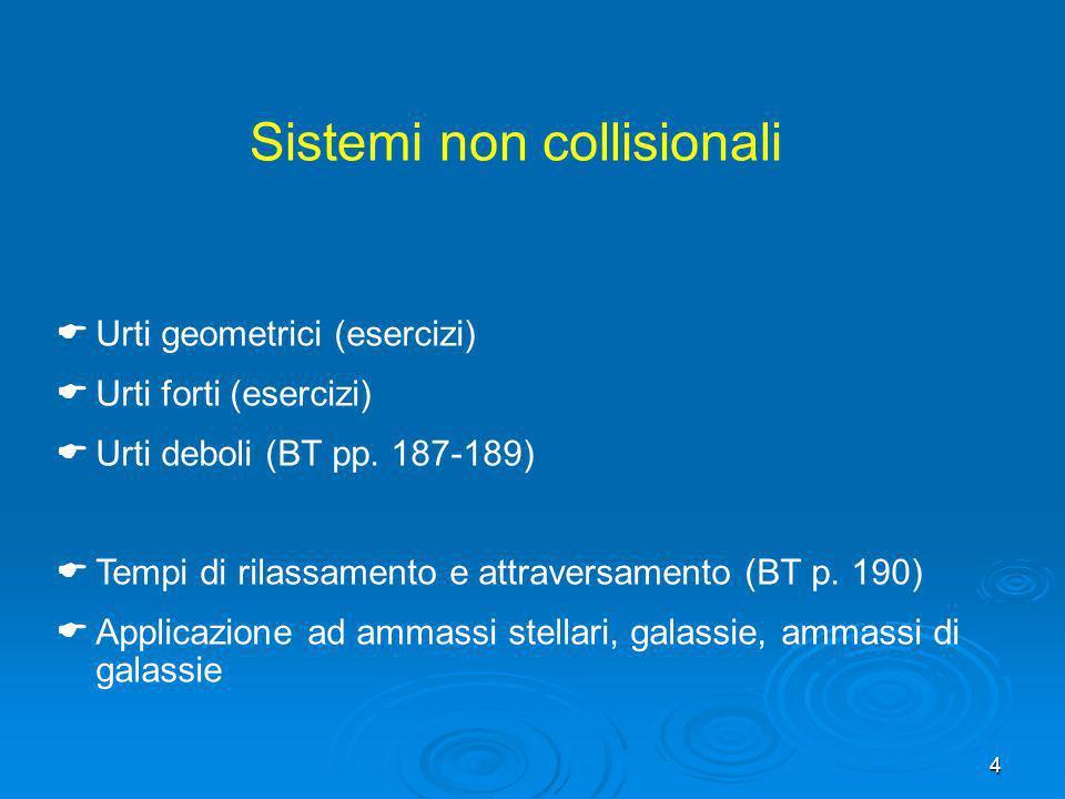 4 Sistemi non collisionali Urti geometrici (esercizi) Urti forti (esercizi) Urti deboli (BT pp. 187-189) Tempi di rilassamento e attraversamento (BT p
