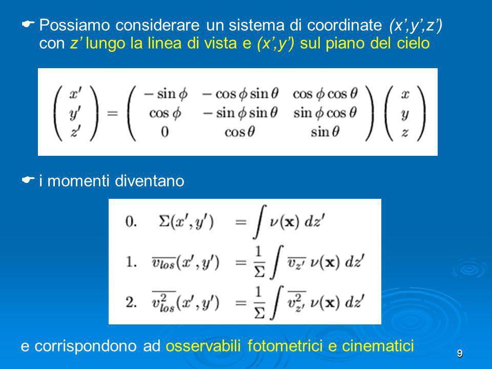 9 Possiamo considerare un sistema di coordinate (x,y,z) con z lungo la linea di vista e (x,y) sul piano del cielo i momenti diventano e corrispondono