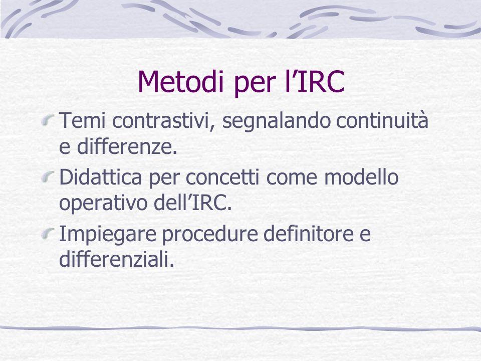 Metodi per lIRC Temi contrastivi, segnalando continuità e differenze. Didattica per concetti come modello operativo dellIRC. Impiegare procedure defin