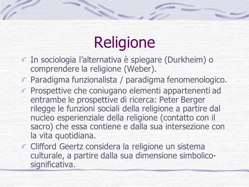 Religione In sociologia lalternativa è spiegare (Durkheim) o comprendere la religione (Weber). Paradigma funzionalista / paradigma fenomenologico. Pro