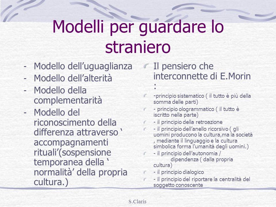 S.Claris Modelli per guardare lo straniero - Modello delluguaglianza - Modello dellalterità - Modello della complementarità - Modello del riconoscimen