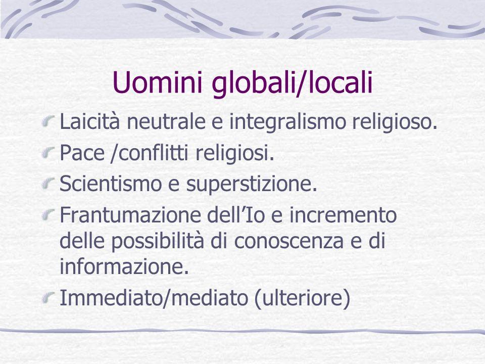 Uomini globali/locali Laicità neutrale e integralismo religioso. Pace /conflitti religiosi. Scientismo e superstizione. Frantumazione dellIo e increme