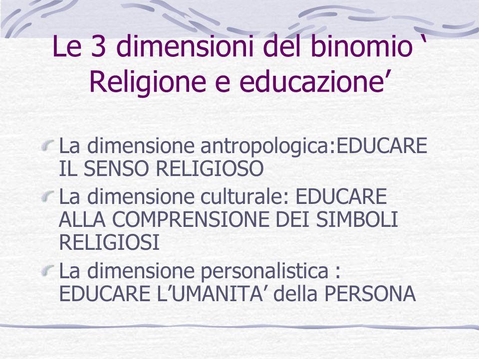 Le 3 dimensioni del binomio Religione e educazione La dimensione antropologica:EDUCARE IL SENSO RELIGIOSO La dimensione culturale: EDUCARE ALLA COMPRE