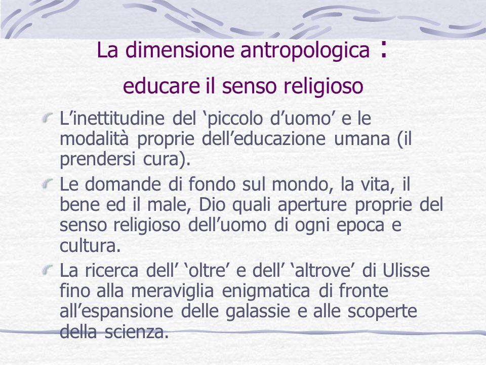 La dimensione culturale: educare alla comprensione dei simboli religiosi Il linguaggio religioso è altamente simbolico.