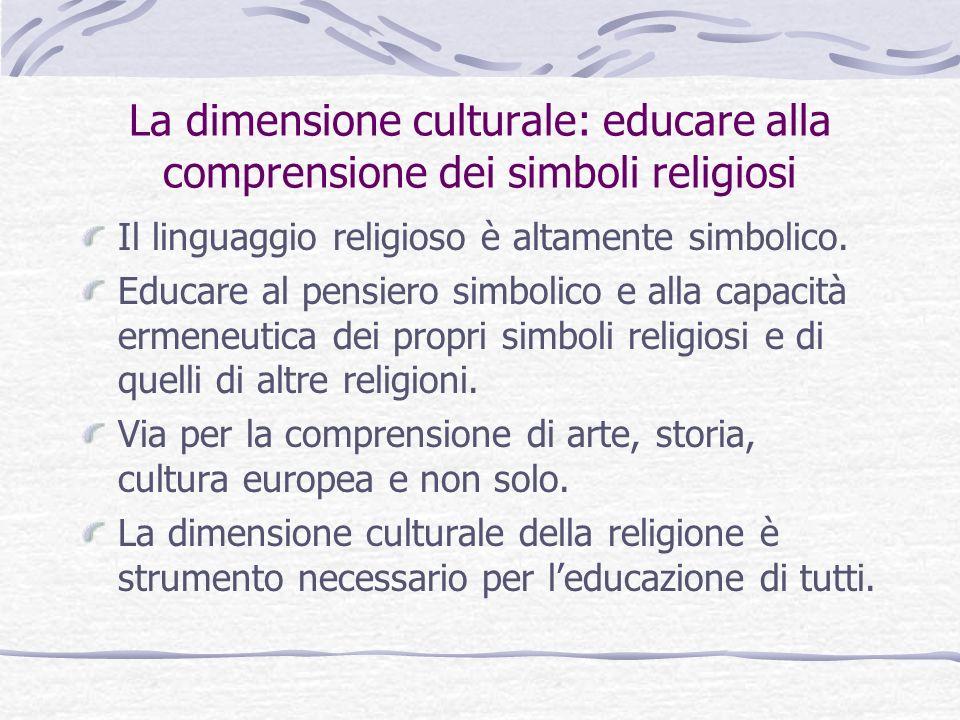 La dimensione culturale: educare alla comprensione dei simboli religiosi Il linguaggio religioso è altamente simbolico. Educare al pensiero simbolico