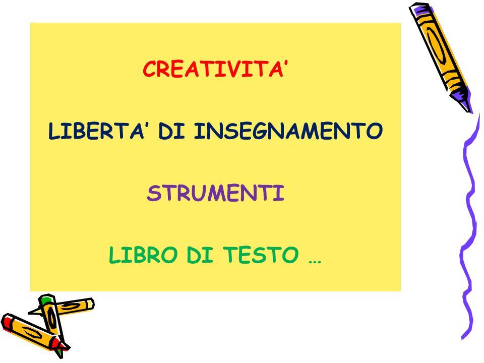 CREATIVITA LIBERTA DI INSEGNAMENTO STRUMENTI LIBRO DI TESTO …