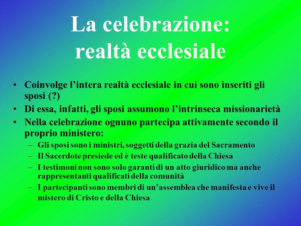 La celebrazione: realtà ecclesiale Coinvolge lintera realtà ecclesiale in cui sono inseriti gli sposi (?) Di essa, infatti, gli sposi assumono lintrin