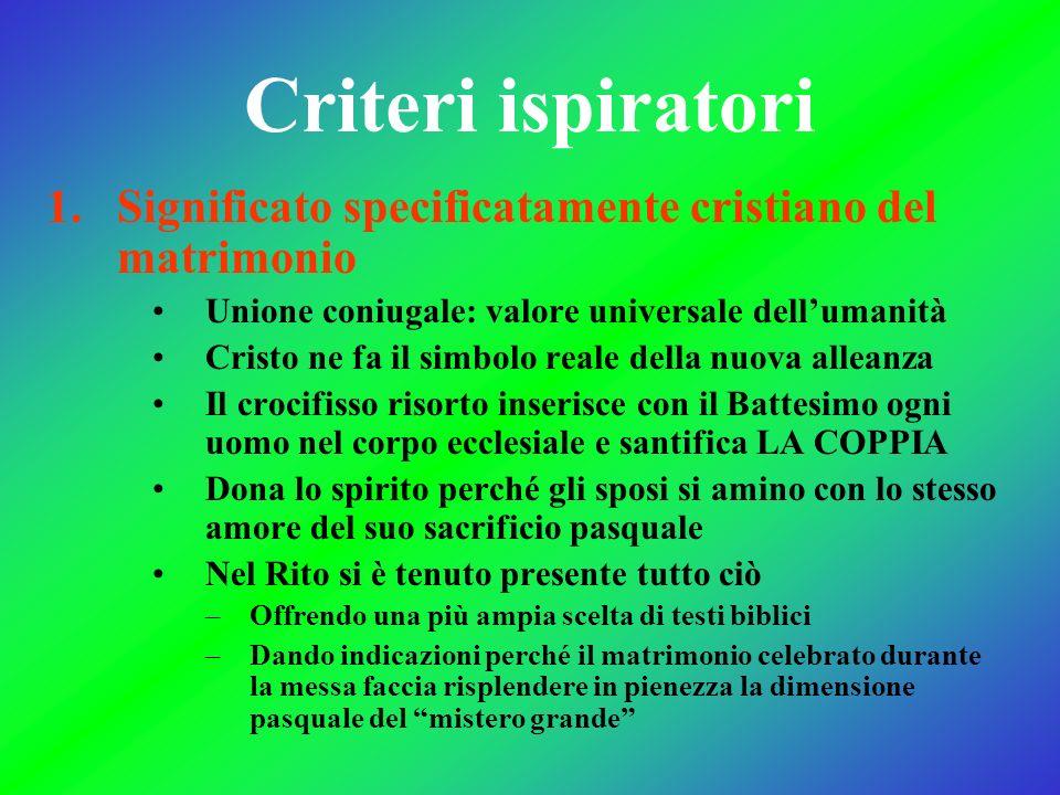 Criteri ispiratori 1.Significato specificatamente cristiano del matrimonio Unione coniugale: valore universale dellumanità Cristo ne fa il simbolo rea
