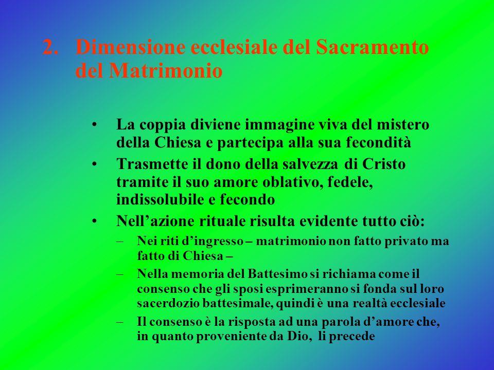 2.Dimensione ecclesiale del Sacramento del Matrimonio La coppia diviene immagine viva del mistero della Chiesa e partecipa alla sua fecondità Trasmett