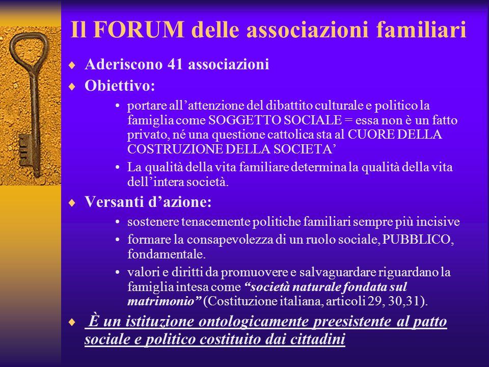 Il FORUM delle associazioni familiari Aderiscono 41 associazioni Obiettivo: portare allattenzione del dibattito culturale e politico la famiglia come