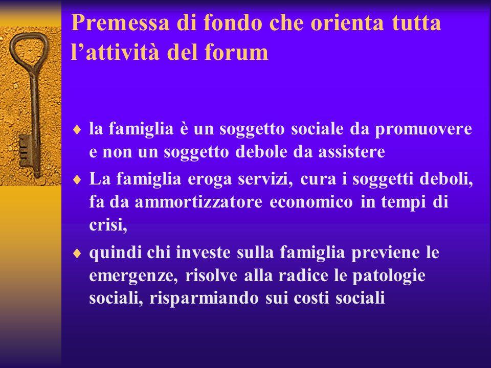 Premessa di fondo che orienta tutta lattività del forum la famiglia è un soggetto sociale da promuovere e non un soggetto debole da assistere La famig