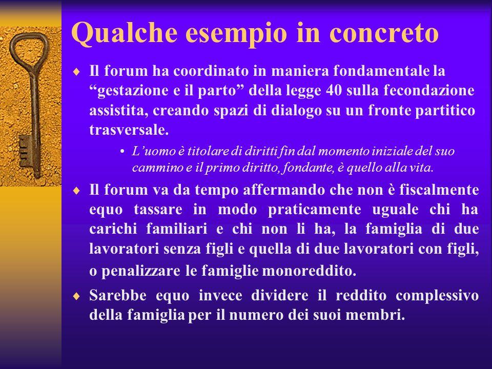 Qualche esempio in concreto Il forum ha coordinato in maniera fondamentale la gestazione e il parto della legge 40 sulla fecondazione assistita, crean