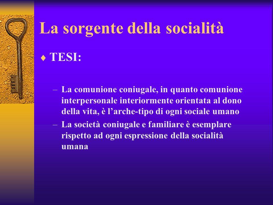 La sorgente della socialità TESI: –La comunione coniugale, in quanto comunione interpersonale interiormente orientata al dono della vita, è larche-tip