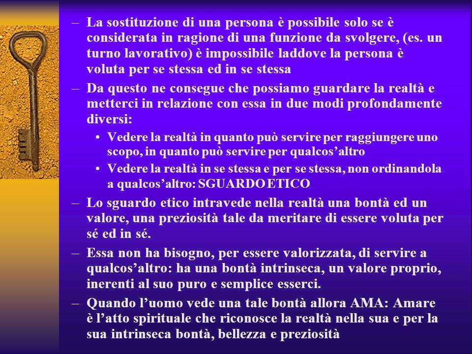 –La sostituzione di una persona è possibile solo se è considerata in ragione di una funzione da svolgere, (es. un turno lavorativo) è impossibile ladd