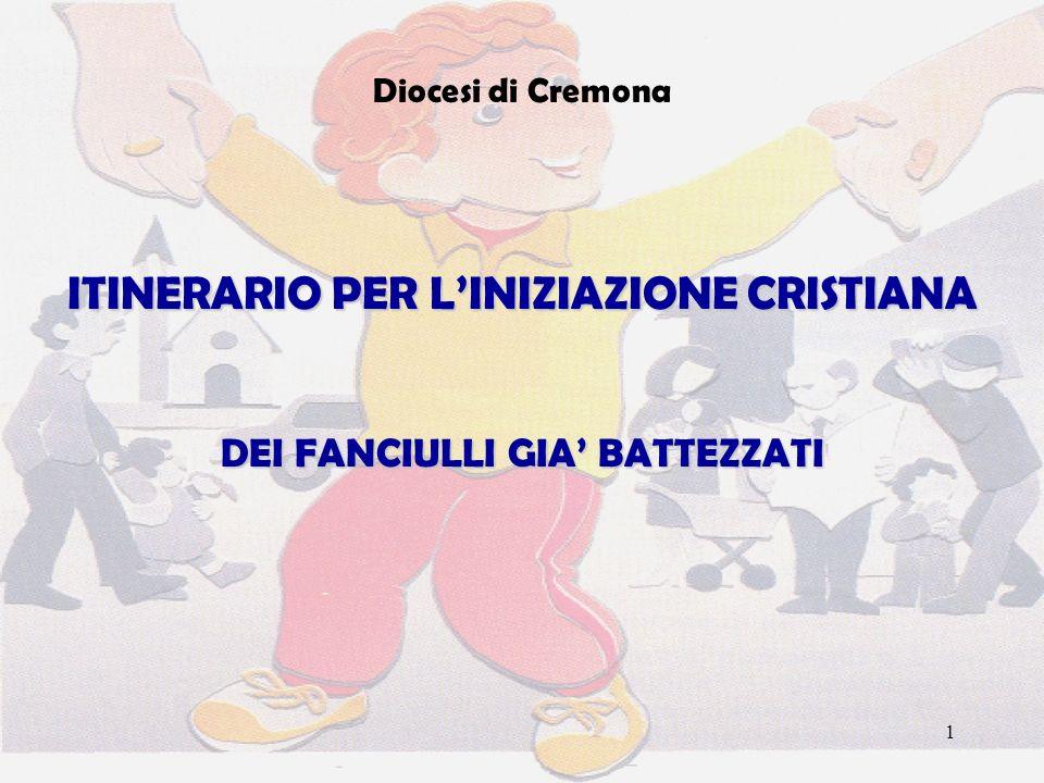 1 Diocesi di Cremona ITINERARIO PER LINIZIAZIONE CRISTIANA DEI FANCIULLI GIA BATTEZZATI