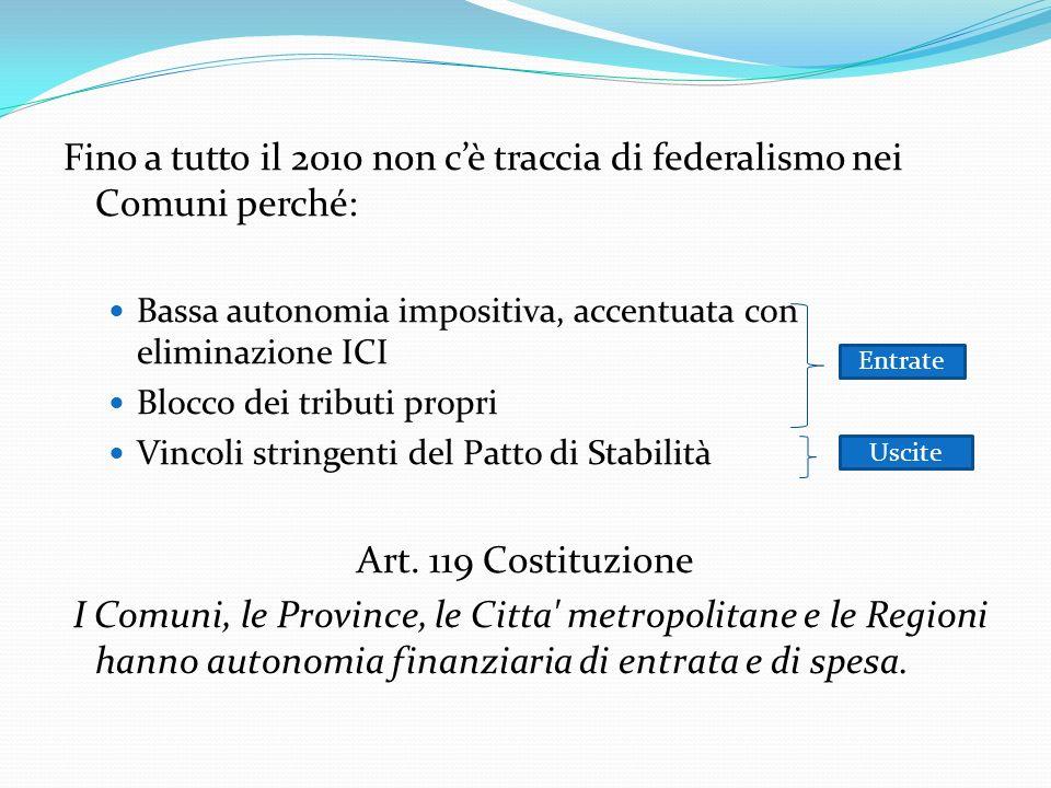 Fino a tutto il 2010 non cè traccia di federalismo nei Comuni perché: Bassa autonomia impositiva, accentuata con eliminazione ICI Blocco dei tributi propri Vincoli stringenti del Patto di Stabilità Art.