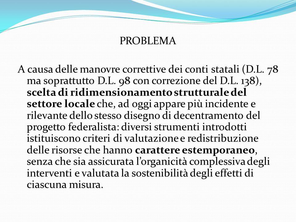 PROBLEMA A causa delle manovre correttive dei conti statali (D.L.