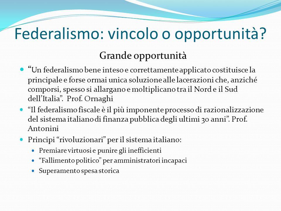 Federalismo: vincolo o opportunità.
