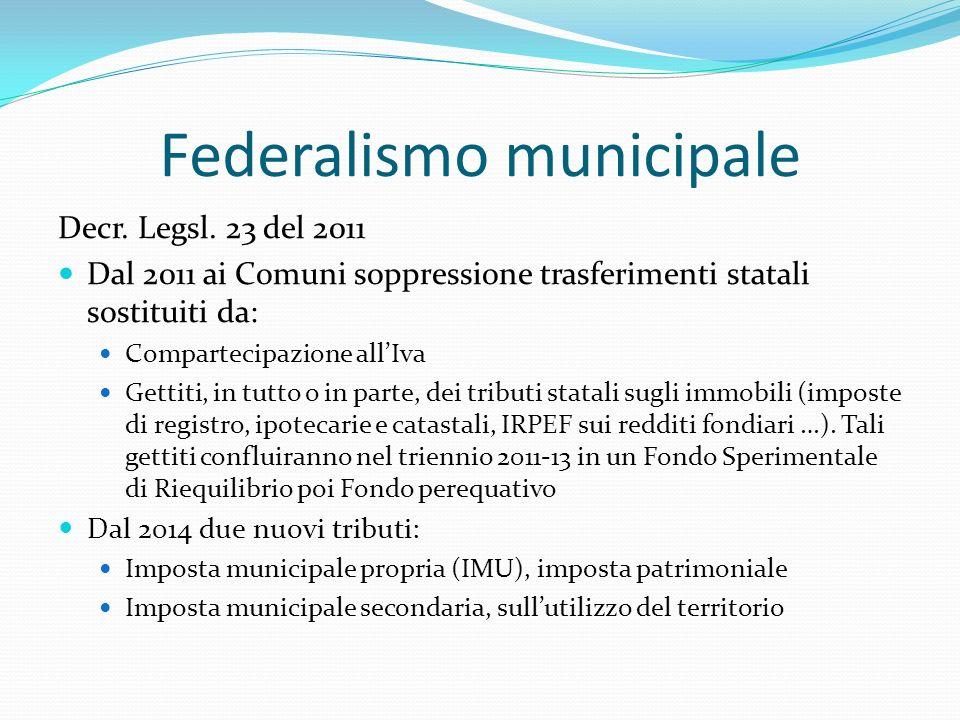 Federalismo municipale Decr. Legsl.