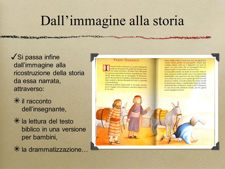 Dallimmagine alla storia S i passa infine dallimmagine alla ricostruzione della storia da essa narrata, attraverso: i l racconto dellinsegnante, l a l