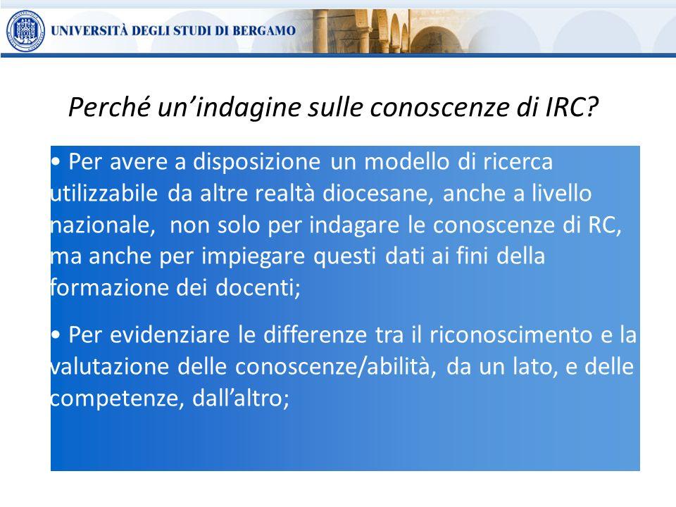 Per avere a disposizione un modello di ricerca utilizzabile da altre realtà diocesane, anche a livello nazionale, non solo per indagare le conoscenze