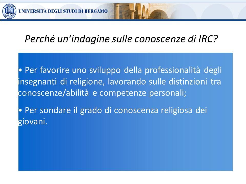 Per favorire uno sviluppo della professionalità degli insegnanti di religione, lavorando sulle distinzioni tra conoscenze/abilità e competenze personali; Per sondare il grado di conoscenza religiosa dei giovani.