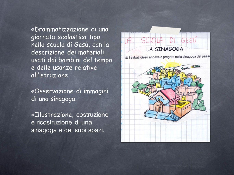 Drammatizzazione di una giornata scolastica tipo nella scuola di Gesù, con la descrizione dei materiali usati dai bambini del tempo e delle usanze rel