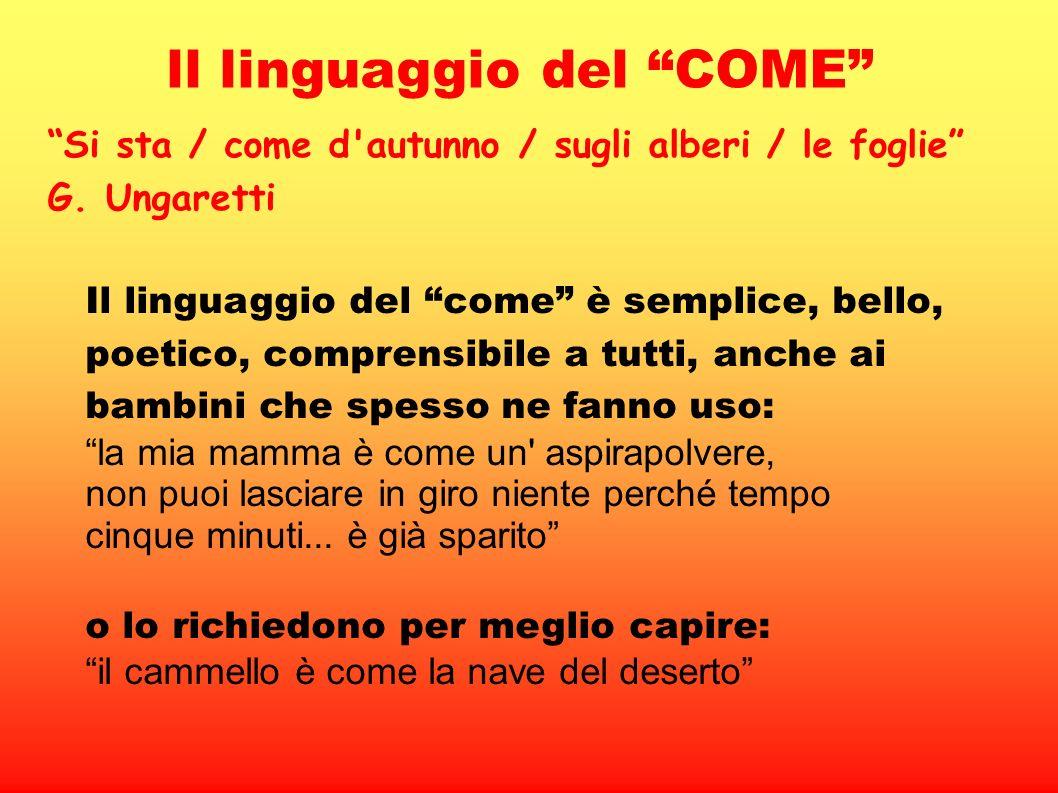 ll linguaggio del COME Si sta / come d'autunno / sugli alberi / le foglie G. Ungaretti Il linguaggio del come è semplice, bello, poetico, comprensibil