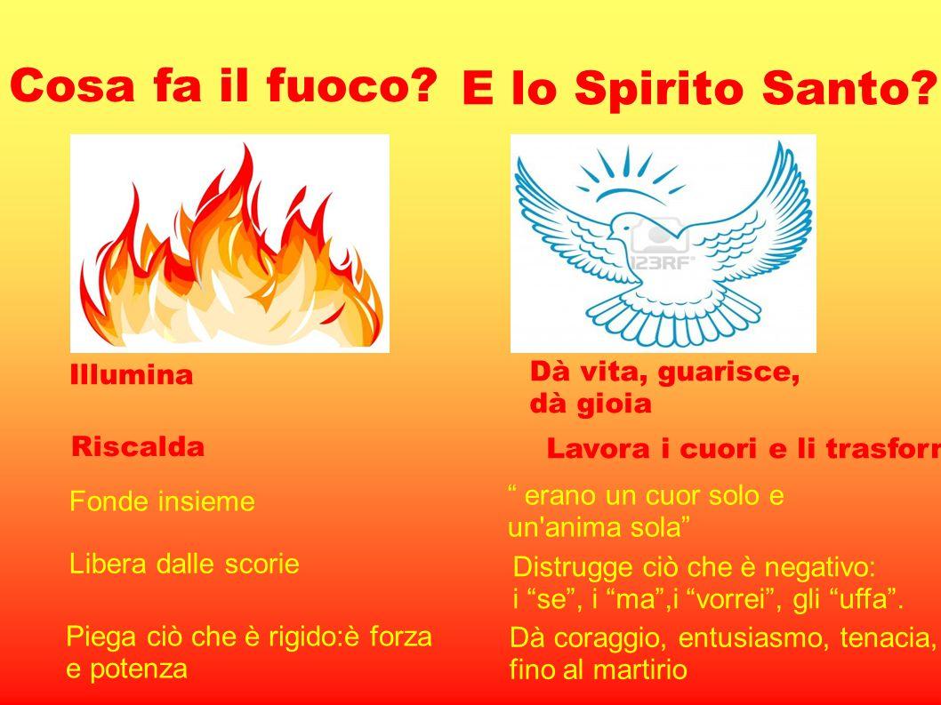 Cosa fa il fuoco? Illumina Riscalda Fonde insieme Libera dalle scorie Piega ciò che è rigido:è forza e potenza E lo Spirito Santo? Dà vita, guarisce,
