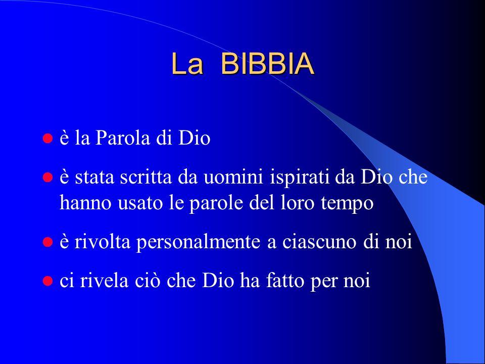La BIBBIA è la Parola di Dio è stata scritta da uomini ispirati da Dio che hanno usato le parole del loro tempo è rivolta personalmente a ciascuno di