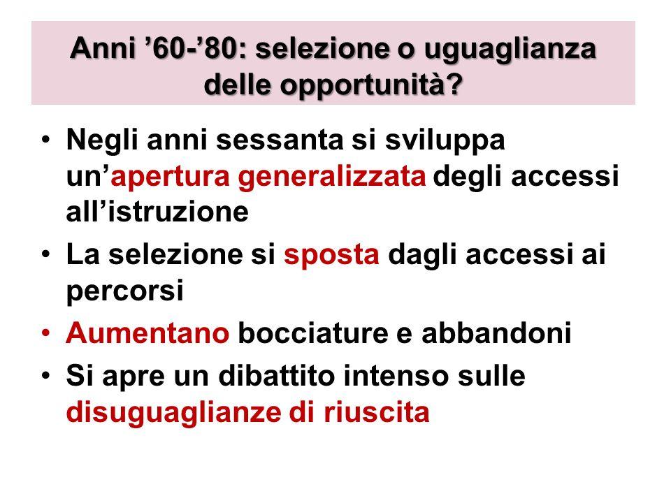 Anni 60-80: selezione o uguaglianza delle opportunità.