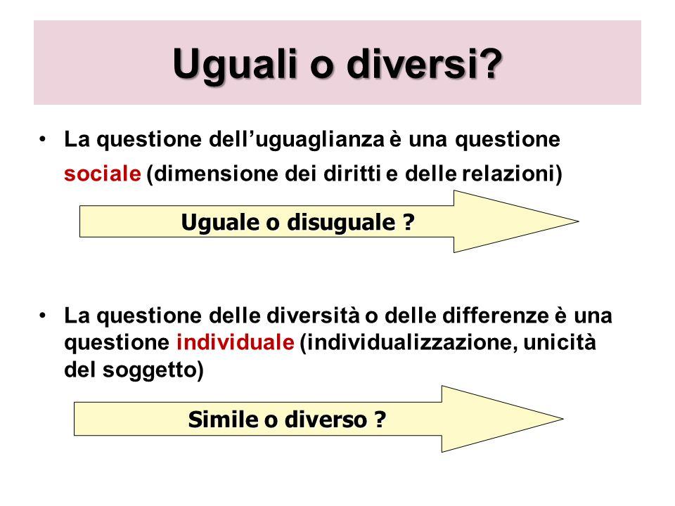 Uguali o diversi? La questione delluguaglianza è una questione sociale (dimensione dei diritti e delle relazioni) La questione delle diversità o delle