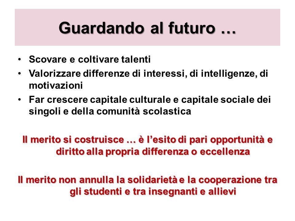 Guardando al futuro … Scovare e coltivare talenti Valorizzare differenze di interessi, di intelligenze, di motivazioni Far crescere capitale culturale