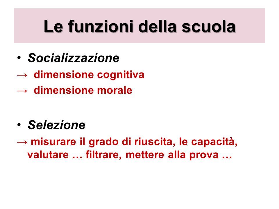 Le funzioni della scuola Socializzazione dimensione cognitiva dimensione morale Selezione misurare il grado di riuscita, le capacità, valutare … filtrare, mettere alla prova …