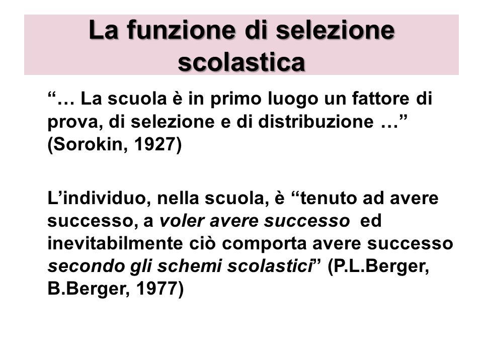La funzione di selezione scolastica … La scuola è in primo luogo un fattore di prova, di selezione e di distribuzione … (Sorokin, 1927) Lindividuo, ne