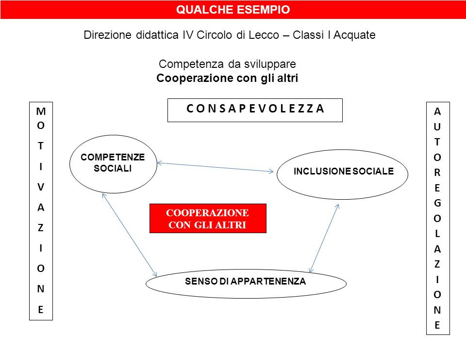 QUALCHE ESEMPIO Direzione didattica IV Circolo di Lecco – Classi I Acquate Competenza da sviluppare Cooperazione con gli altri C O N S A P E V O L E Z