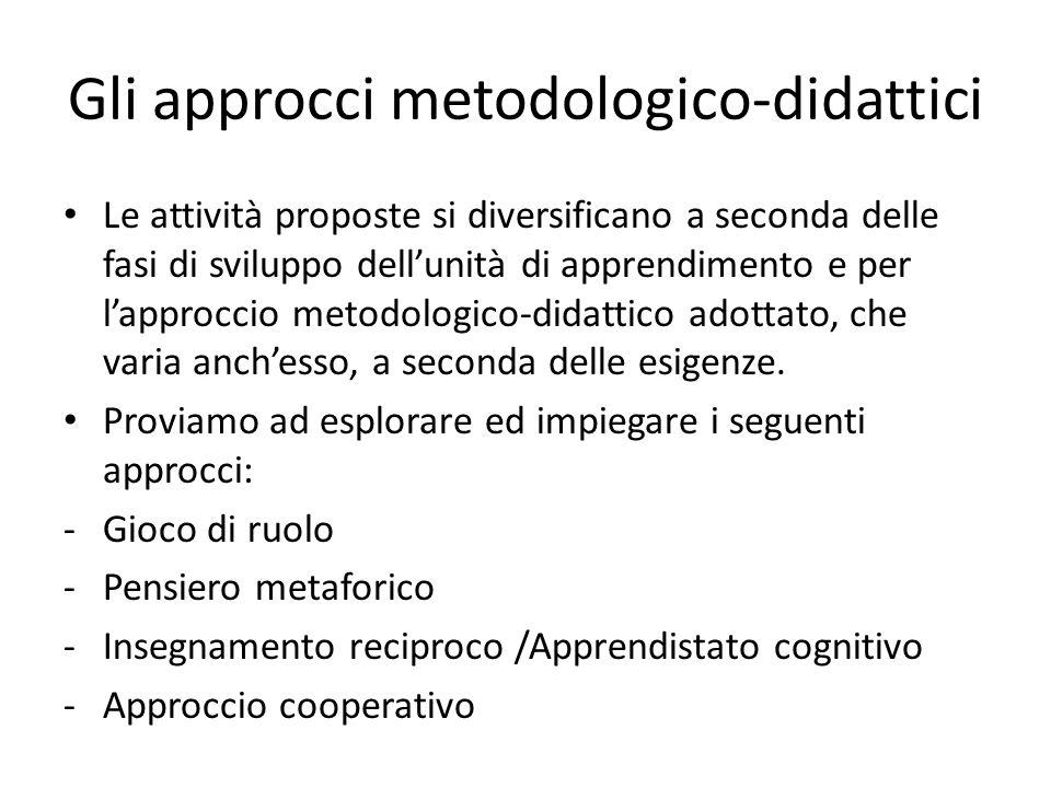 Gli approcci metodologico-didattici Le attività proposte si diversificano a seconda delle fasi di sviluppo dellunità di apprendimento e per lapproccio