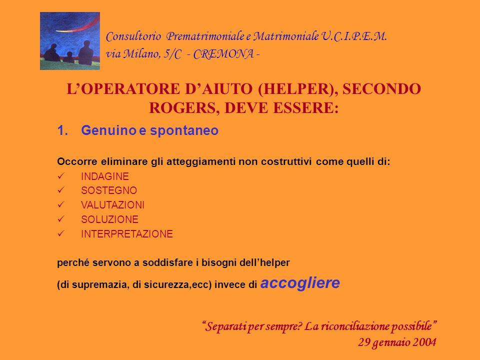 Consultorio Prematrimoniale e Matrimoniale U.C.I.P.E.M. via Milano, 5/C - CREMONA - Separati per sempre? La riconciliazione possibile 29 gennaio 2004