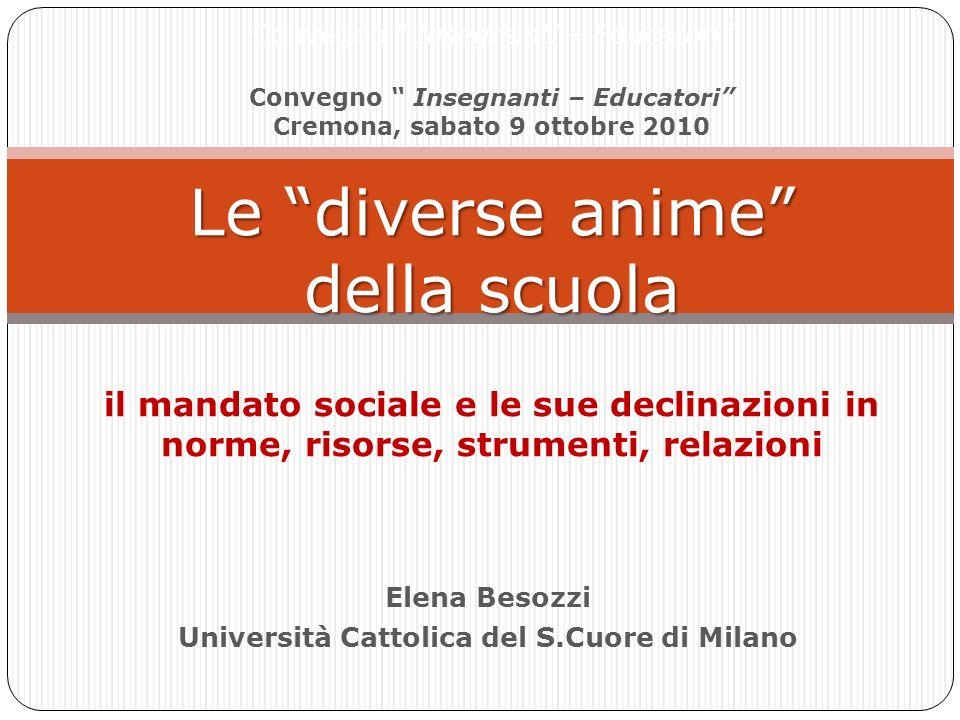 Elena Besozzi Università Cattolica del S.Cuore di Milano Le diverse anime della scuola Convegno Insegnanti – Educatori Convegno Insegnanti – Educatori