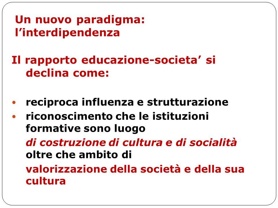 Un nuovo paradigma: linterdipendenza Il rapporto educazione-societa si declina come: reciproca influenza e strutturazione riconoscimento che le istitu