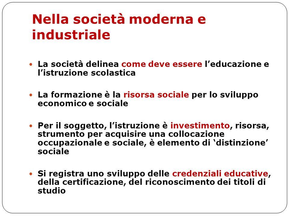 Nella società moderna e industriale La società delinea come deve essere leducazione e listruzione scolastica La formazione è la risorsa sociale per lo