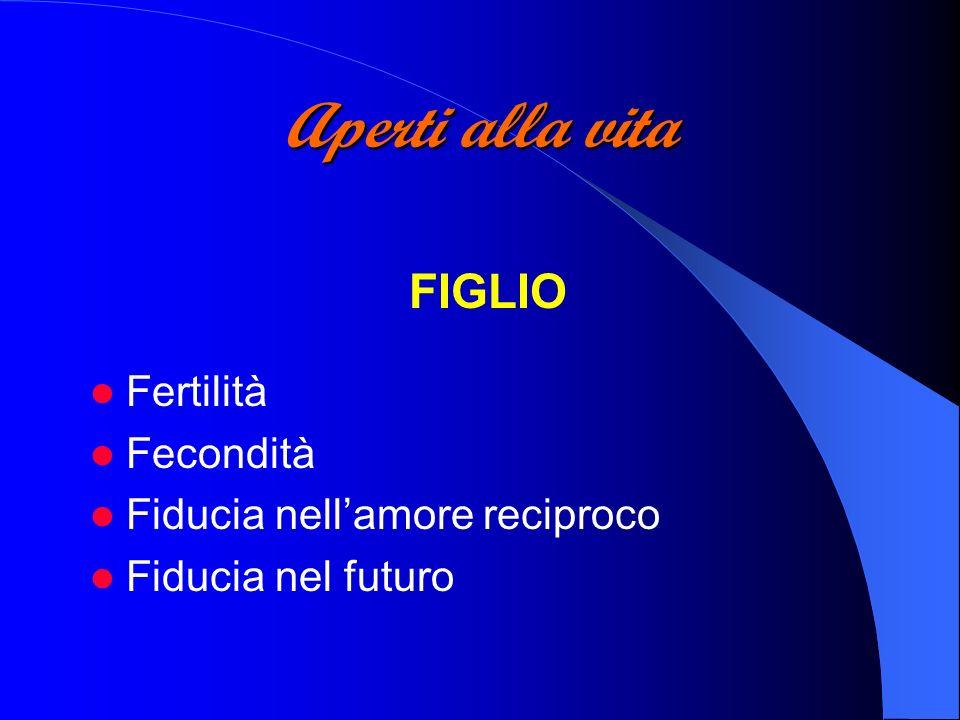 Aperti alla vita FIGLIO Fertilità Fecondità Fiducia nellamore reciproco Fiducia nel futuro