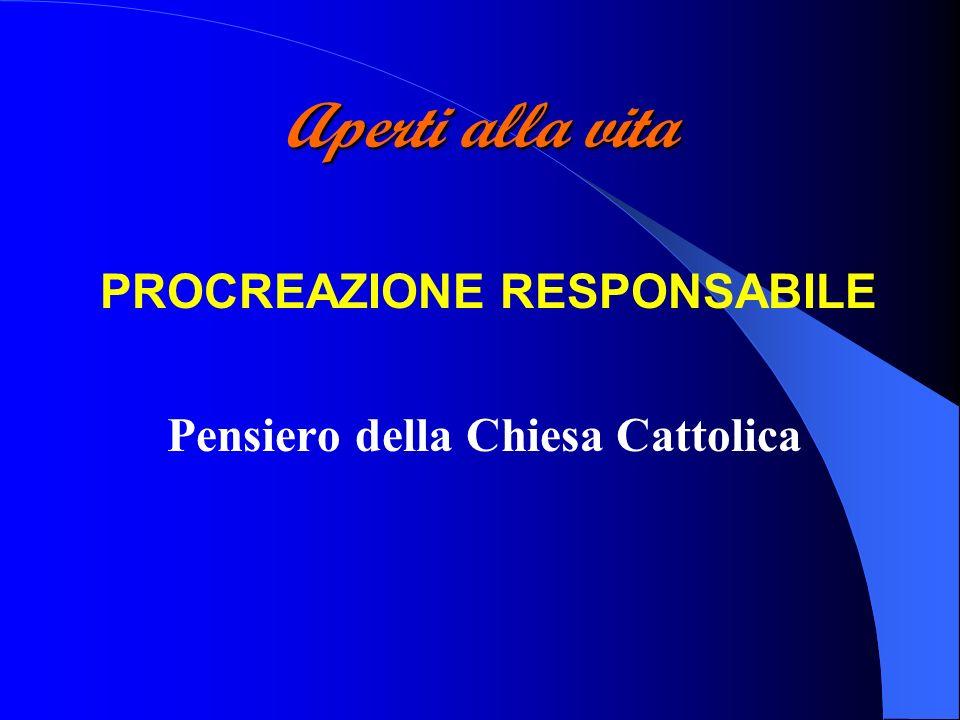 Aperti alla vita PROCREAZIONE RESPONSABILE Pensiero della Chiesa Cattolica