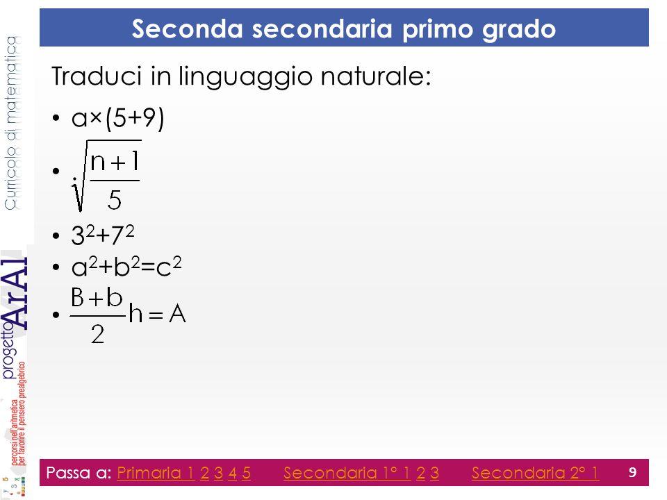Seconda secondaria primo grado Traduci in linguaggio naturale: a×(5+9).